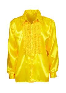chemise disco, chemise à jabot, chemise années 70, chemise déguisement disco, chemise à jabot jaune, Chemise Disco à Jabot, Jaune