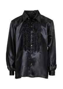chemise disco, chemise à jabot, chemise années 70, chemise déguisement disco, chemise à jabot noire, Chemise Disco à Jabot, Noire