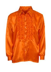 chemise disco, chemise à jabot, chemise années 70, chemise déguisement disco, chemise à jabot orange, Chemise Disco à Jabot, Orange