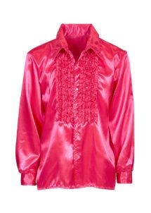 chemise disco, chemise à jabot, chemise années 70, chemise déguisement disco, chemise à jabot rose, Chemise Disco à Jabot, Rose