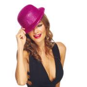 chapeaux melons, chapeaux paillettes, chapeau melon, chapeaux de fête, accessoires chapeaux melons Chapeau Melon à Paillettes, Rose Fuchsia