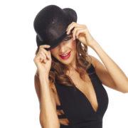 chapeaux melons, chapeaux paillettes, chapeau melon, chapeaux de fête, accessoires chapeaux melons Chapeau Melon à Paillettes, Noir