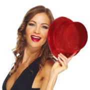 chapeaux paillettes, chapeaux hauts de forme paillettes, chapeaux hauts de forme, chapeau haut de forme, chapeaux paris, chapeaux hauts de forme Chapeau Haut de Forme à Paillettes, Rouge