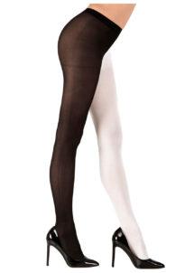collants bicolores noirs et blancs, collants déguisement, accessoires déguisement, collants de pierrot, déguisement de pierrot, Collant Bicolore, Noirs et Blancs