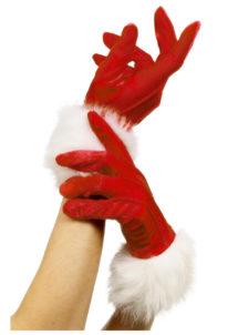 gants de mère noel, accessoire mère noel déguisement, accessoire gants déguisement, gants avec fourrure, Gants de Mère Noël