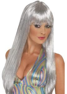 perruque argent, perruque disco, perruque années 80, perruque argentée, Perruque Argent