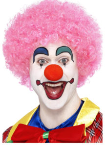perruque de clown rouge, perruque de clown, perruque afro rose, Perruque de Clown Circus, Rose