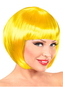perruque jaune, perruque carré jaune, perruque femme, Perruque Chanel, Jaune