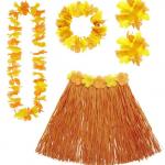 Kit Hawaï, jupe hawaï, collier hawaï, accessoires hawaïens déguisement, jupe hawaïenne déguisement, déguisement hawaï, déguisement jupe hawaïenne Kit Hawaï, Hula Orange