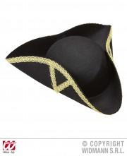 chapeau tricorne, chapeaux tricornes, tricornes noirs, chapeaux vénitiens, accessoires déguisements chapeaux Chapeau Tricorne, Galon Or
