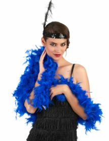 boa bleu, boa plumes bleues, accessoire années 20, accessoire années 30, accessoire charleston, Boa en Plumes Bleu Roi