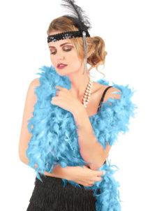 boa bleu, boa plumes bleues, accessoire années 20, accessoire années 30, accessoire charleston, Boa en Plumes Bleues, Turquoise