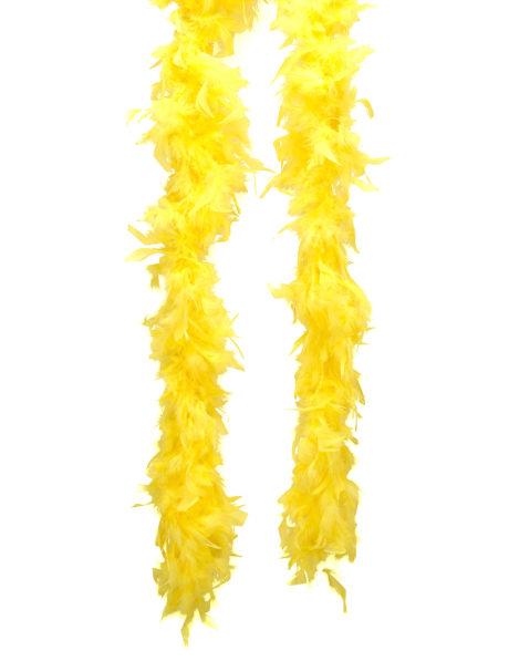 boa jaune, boa plumes jaunes, accessoire années 20, accessoire années 30, accessoire charleston, Boa en Plumes Jaunes