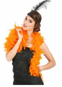 boa orange, boa plumes oranges, accessoires années 20, accessoires années 30, accessoires charleston, Boa en Plumes Oranges