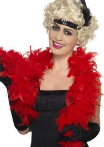 boa rouge, boa plumes, accessoires années 20, accessoire années 30, Boa en Plumes Rouges