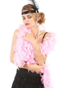 boa rose, boa plumes roses, accessoires années 20, accessoires années 30, accessoires charleston, Boa en Plumes Roses
