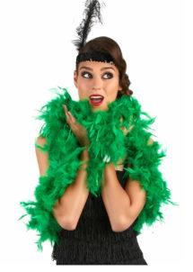 boa plumes, boa plumes vertes, boa vert, accessoire années 20, accessoire années 30, Boa en Plumes Vertes
