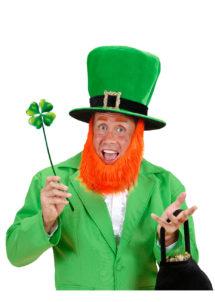 chapeau saint patrick, chapeau barbe rousse, chapeau humoristiques, chapeaux hauts de forme, chapeaux paris, accessoires de déguisements, Chapeau Saint Patrick, avec Barbe Rousse