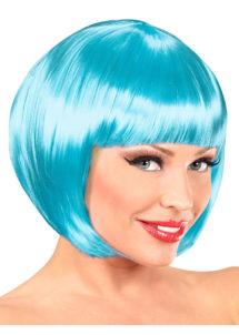 perruque bleu ciel, perruque carré bleu, perruque femme bleue, perruque bleue femme, Perruque Chanel, Bleue, Lagon