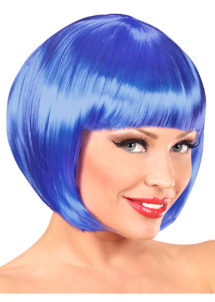 perruque bleue, carré bleu perruque, perruque pour femme, perruque carré bleu femme, Perruque Chanel, Bleue