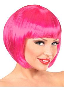 perruque rose, perruque carré, perruque femme carré rose, Perruque Chanel, Rose Fuchsia