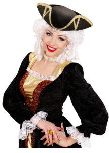chapeau tricorne, chapeaux tricornes, tricornes noirs, chapeaux vénitiens, accessoires déguisements chapeaux, Chapeau Tricorne, Galon Or