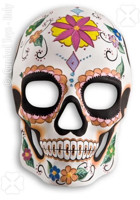 masque squelette mexicain, masque de déguisement, masque mexicain halloween, masque déguisement halloween, accessoire déguisement halloween masque, masque en papier maché, masque dia de la muerte, masque halloween jour des morts, déguisement jour des morts halloween, masque jour des morts Masque Squelette Mexicain 2, Jour des Morts, Fait Main