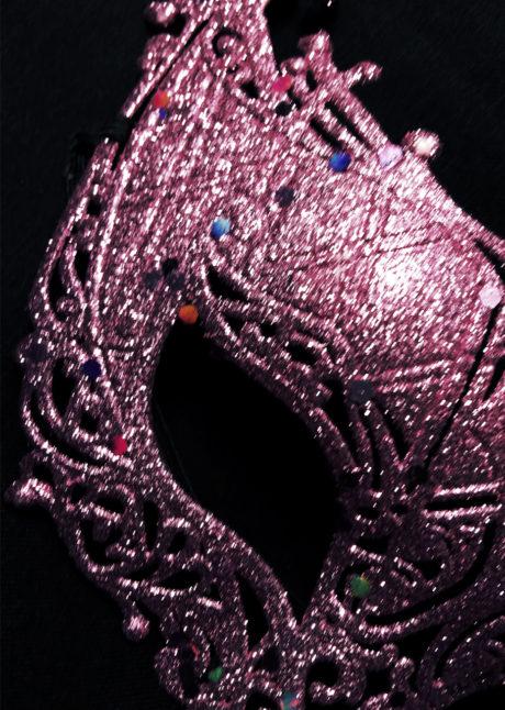 loup baby glitter rose, carnaval, loup vénitien, Loup Baby, Glitter Rose
