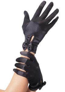 gants déguisement, accessoire gants déguisement, gants femmes déguisement, gants années 20, gants années 30, Gants Courts, Satin Noir avec Noeuds