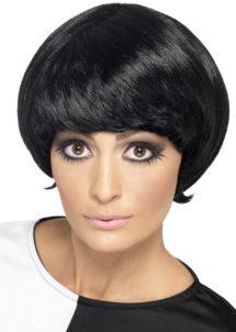 perruque années 60 noire, perruque blonde femme, perruque années 60, Perruque Années 60, Psychedelic, Noire