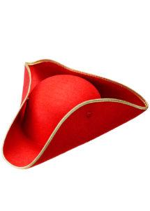 chapeaux tricornes, tricorne rouge, chapeau tricorne, chapeau vénitien, Chapeau Tricorne, Rouge liseré Or