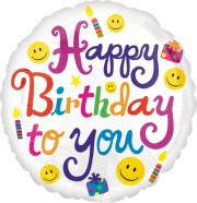 ballon hélium, ballon anniversaire, ballon happy birthday Ballon Aluminium, Anniversaire, Happy Birthday Smiley
