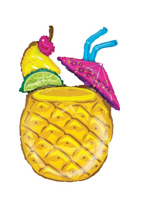 ballon héium, ballon ananas cocktail tropical, ballons à l'hélium, décorations tropicales, ballon géant aluminium, Ballon Ananas Cocktail Tropical, en Aluminium