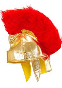 casque romain, caques de romains, accessoire déguisement romain, casque plumes, casques gladiateurs romains, Casque Romain, Or
