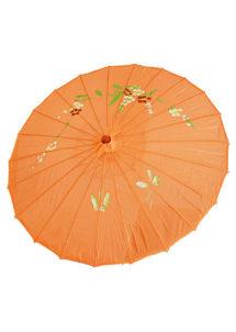 ombrelle chinoise, ombrelle japonaise, ombrelle déguisement, accessoire déguisement asiatique, accessoire geisha déguisement, accessoire déguisement chinoise, Ombrelle Japonaise en Tissu, Orange