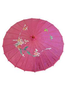 ombrelle chinoise, ombrelle japonaise, ombrelle déguisement, accessoire déguisement asiatique, accessoire geisha déguisement, accessoire déguisement chinoise, Ombrelle Japonaise en Tissu, Rose