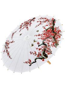 ombrelle papier de riz, ombrelle chinoise, ombrelle japonaise, ombrelle déguisement, accessoire déguisement asiatique, accessoire geisha déguisement, accessoire déguisement chinoise, Ombrelle Japonaise en Papier de riz, Blanche