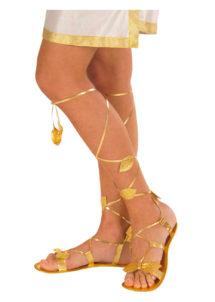 sandales romaines, accessoire romaine déguisement, accessoire déguisement romain, chaussures déguisement, accessoire déesse romaine déguisement, Sandales Romaines, Feuilles d'Or