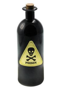 déco halloween, bouteille poison halloween, accessoire décoration halloween, fausse bouteille de poison halloween, Bouteille Poison en Verre Noir
