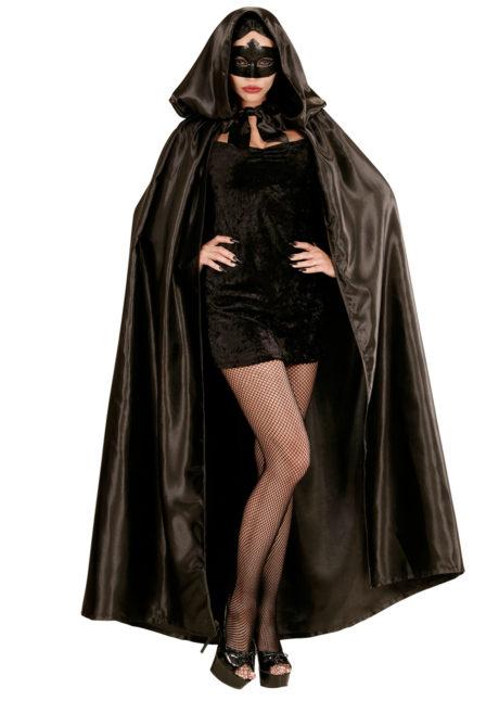 cape noire capuche, cape noire venise, cape vénitienne, cape noire halloween, Cape Noire à Large Capuche, Satin, F