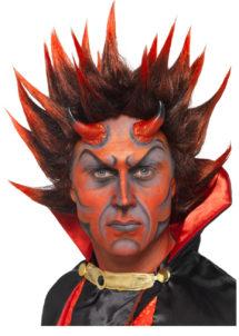perruque diable, perruque halloween, perruque de diable pour homme, perruque satan, Perruque de Diable Lucifer, Rouge et Brun