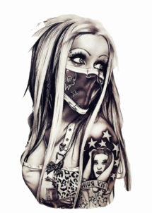 faux tatouages, tatouages temporaires, tatouages bikers, tatouage fille biker, Tatouages Temporaires, Biker Girl