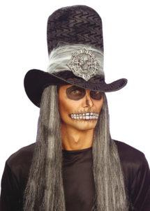 chapeaux halloween, chapeau de vampire, chapeaux hauts de forme, chapeau haut de forme, chapeaux paris, chapeaux hauts de forme, Chapeau Haut de Forme Velours, avec Crâne