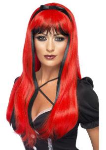 perruque rouge, perruque diable femme, perruque cheveux longs rouges femme, Perruque Bewitch, Rouge
