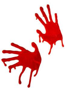 stickers halloween, mains sanglantes, stickers repositionnables, Stickers Mains Sanglantes en Gomme