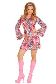 déguisement hippie femme, costume hippie femme, déguisement flower power femme, costume flower power femme, costume années 70 femme, déguisement années 70 femme, déguisement peace and love femme, costume femme hippie Déguisement Hippie Groovy Pink, 70s