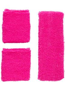 bandeau et poignets fluos, déguisement disco accessoire, bandeau et bracelets années 80, bandeau sport disco, accessoire fluo,, Kit Années 80, Bandeau et Poignets, Rose Fluo