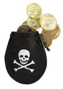bourse de pirate, pièces de pirates, fausses pièces d'or, accessoire déguisement pirate, accessoire pirates, fausse bourse de pirate déguisement, Bourse de Pirate avec Pièces d'Or