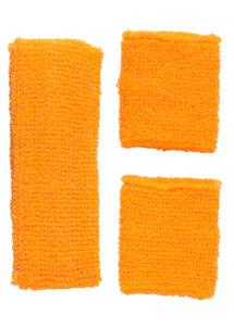 bandeau et bracelets années 80, bandeau sport disco, accessoire fluo, accessoire déguisement, accessoires années 80, accessoire déguisement, accessoire fluo, bandeaux et poignets éponge années 80, Kit Années 80, Bandeau et Poignets, Orange Fluo