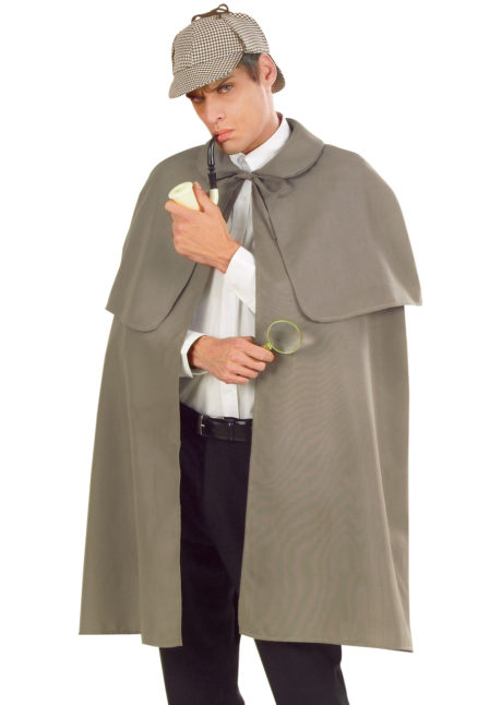 cape manteau à capeline, cape sherlock holmes, cape déguisement sherlock holmes, cape déguisement adulte, cape grise déguisement, Cape Début de Siècle, Sherlock, Grise